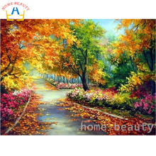HOME BEAUTY diy oil painting by numbers flowers garden decorative canvas painting calligraphy coloring by number wall art Y091(China)