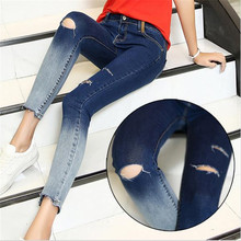 New Arrival Gradient Color Pencil Jeans With Hole Women Fashion Knee Ripped Ankle-Length Skinny Denim Pants Capris(China)
