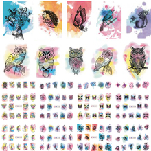12 Designs Nail Art Watercolor Stickers Beauty Tattoo Temporarily Decals Nail Art Butterfly/Owl Stickers LABN409-420N(China)