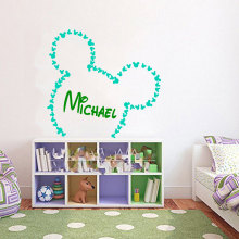 Creative Hot Selling Mickey Mouse Head Sihlouette Wallpaper Art Designed With Personalized Nursery name Cute Wall Sticker Wm-363