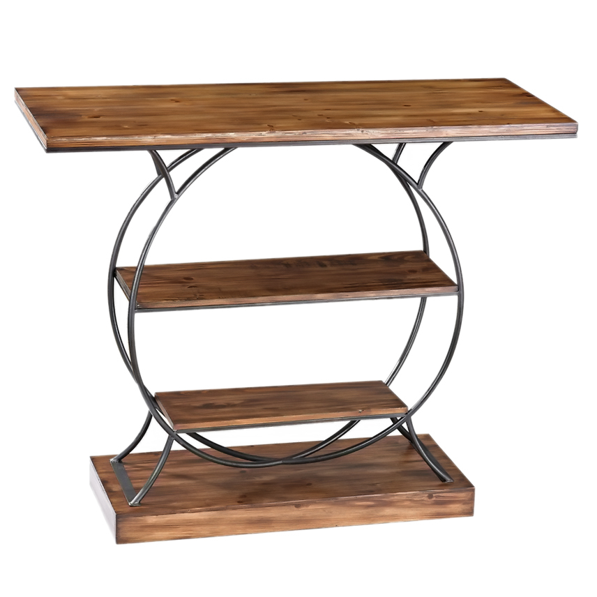 Sterling Wood And Metal Console - Medium Oak/Restoration Grey