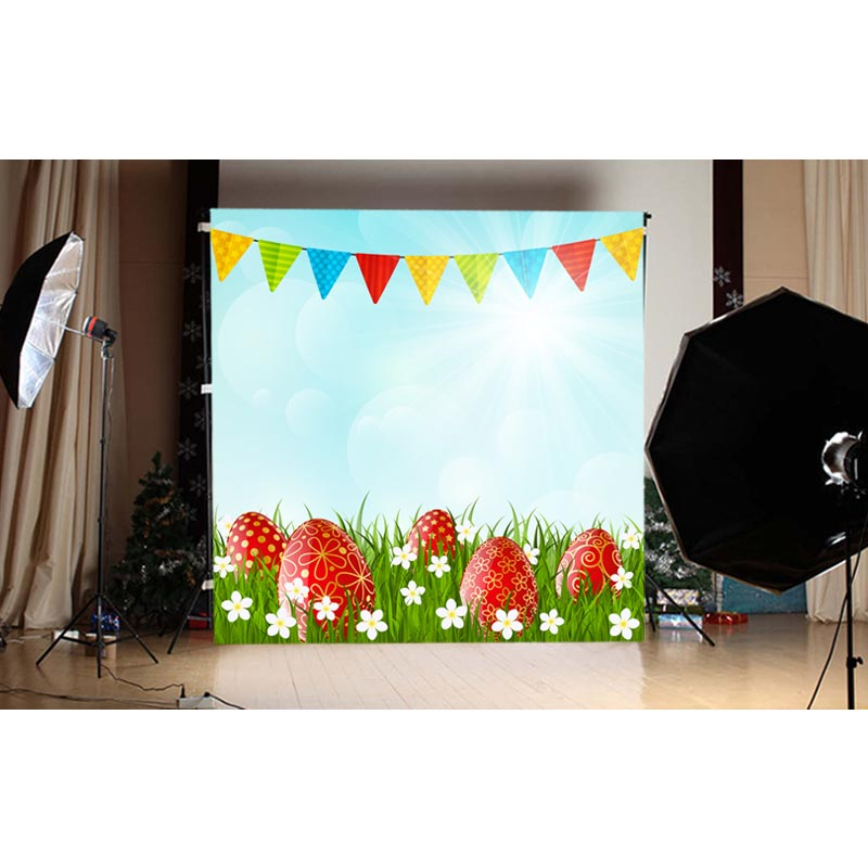 1.5X1.5M Blue sky and colorful color eggs and flags happy Easter printed vinyl background GE-125<br><br>Aliexpress