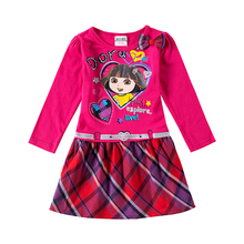 2017 girls dresses cartoon Dora long sleeve fashion design children clothes for autumn spring kids girl casual dress clothes