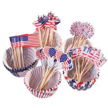 100pcs Indenpendence Day Cupcake Liners With 100pcs Patriotic Cake Topper Picks For 4th Of July Party Decoration Supplies Set(China)
