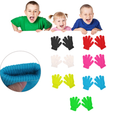 Winter Cute Boys Girls Gloves Solid Color Finger Point Stretch Knit Mittens(China)