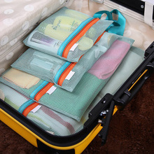 4 Pcs/Set Mesh Travel Organizer Set Bag Clothes Storage Bag Travel Shoe Bag Luggage Zipper Packing Pouch Organizer Storage Bag(China)