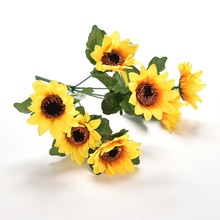 7pcs Large Sunflower Artificial Flower Head /bunch  For Wedding Car Decoration DIY Garland Decorative Fake Flowers