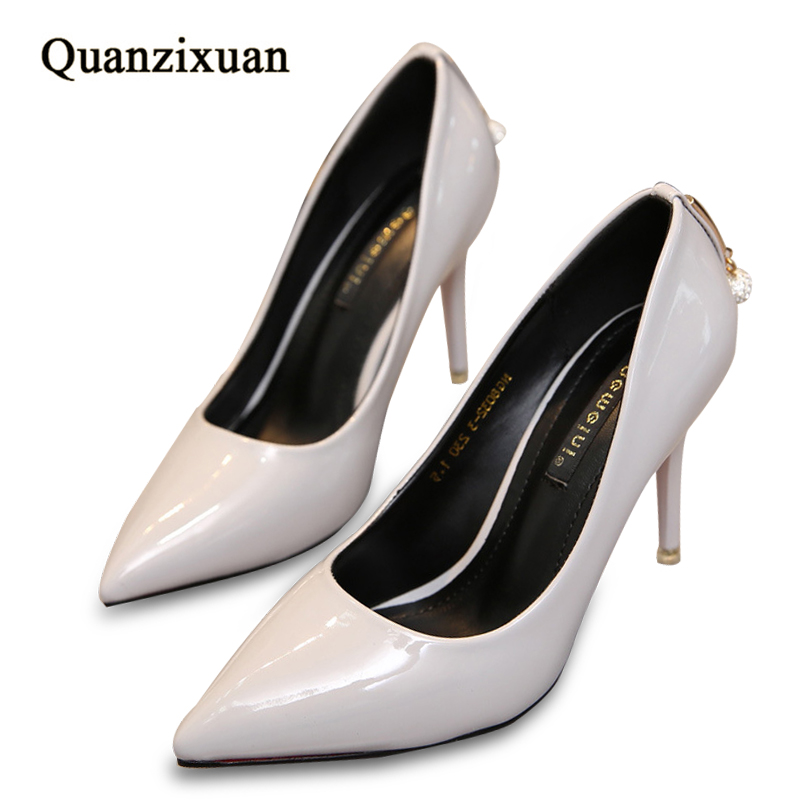 Women Pumps Fashion Stiletto Heel Pointed Toe Shoes Women High Heels Shoes Shallow Patent Leather Shoes Rhinestone<br>