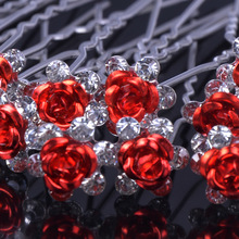 20pcs Rose shaped Women wedding hair accessories Crystal Flower Hair Jewelry Rhinestone Hair Clips Pins Accessories H-6+1