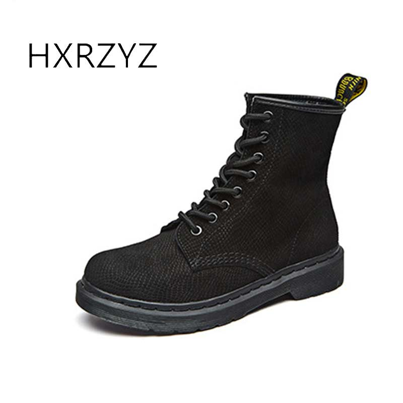 HXRZYZ women ankle boots female genuine leather martin boots fashion rubber bottom slip-resistant autumn/winter womens shoes<br>