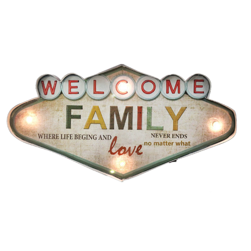 Welcome Family Love Led Neon Signs For Bar Cofee Home Door Bar Decoration Vintage Metal Wall Art Custom Neon Sign YN094(China (Mainland))