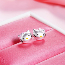 2017 hello kitty jewelry silver cat hello kitty stud earrings fashion jewelry earings for girls children 0.87*0.7mm cute cheap(China)
