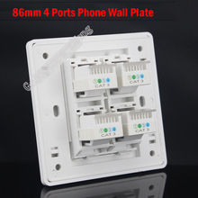 Wall Plate Socket 4 Ports RJ11 Cat3 Telphone Phone Outlet Panel Faceplate with Module Home Plug Adapter Standard Wholesale Lots