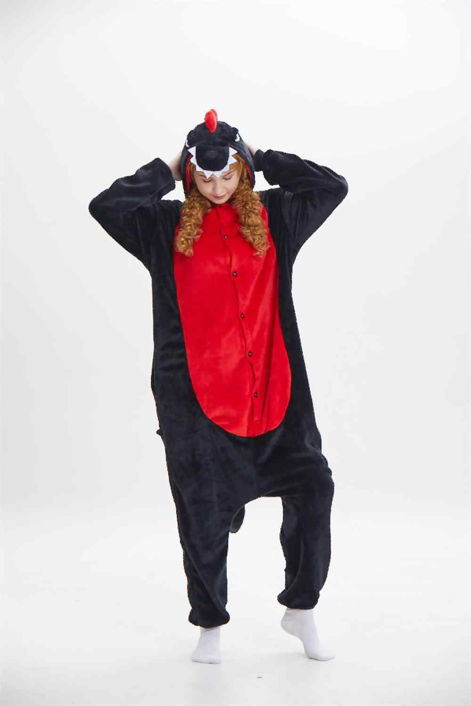 Кигуруми новый черный динозавров Комбинезоны взрослые костюмы унисекс  животное Фиолетовый Дракон пижамы Косплэй Любители Пижама aee212b1eb453
