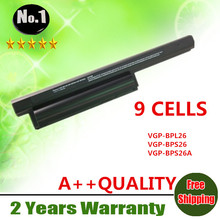 Wholesale New 9cells laptop battery FOR SONY VAIO CA CB EG EH EJ ELSERIES VGP-BPL26 VGP-BPS26 VGP-BPS26A  BPS 26 free shipping