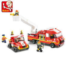 SLUBAN city Fire Department emergency Building Block Sets 3D Construction Brick Educational Hobbies Toys for Children brinquedos(China)