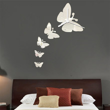 Zero 2017 Butterfly Clock DIY Mirror Wall Mirrors Wall Sticker Home Decoration cheap Inexpensive Purchasing B777(China)