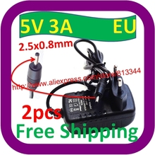 2 pcs Free Shipping Universal 2.5x0.8mm EU Plug Power AC Charger Adapter 5V 3A for Ampe A10 Tablet PC