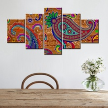Classical Flower Paisley Pattern Wood Bottom Fashion Artwork Home Decor Canvas Painting Wall Art for Office Room Decoration Gift