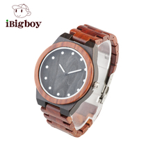 Ibigboy 2017 Newest Top Grade Design Rose Wooden Watch for Men Cool Metal Case Wood Strap Quartz Watches Luxury Gift Watch(China)