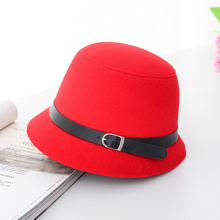 HT1225 Women Solid Wool Felt Cloche Hats Black Red Fedoras Vintage Western Bucket Hats for Women Female Bowler Hats with Belts(China)