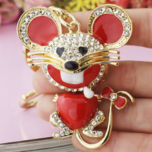 Dalaful Red Heart Mouse Bowknot Tail Crystal Bag Pendant Keyrings Keychains For Car key chains holder for women K174