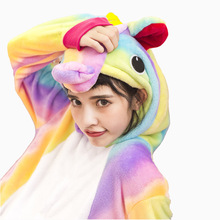 Winter Animal Pyjamas Women Adult New Flannel Rainbow Unicorn Pajamas Sets Thick Long Nightie Pijama De Unicornio Sleepwear(China)