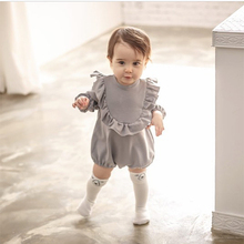 Toddler Girls Clothes Baby Romper long sleeve toddler girl ruffle romper Cotton Girl Clothes Kids Lovely Playsuit Gray Jumpduit(China)