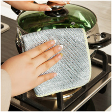 Silver-sided dish towels kitchen dishcloth not contaminated with oil absorbent, lint-free cloth thick plush towels 39(China)