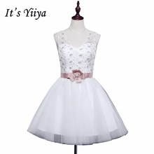 Free shipping new 2017 design romantic white V-neck Sleeveless Short Bridesmaid Dress Gowns Frocks LF238