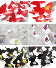12Pcs/lot Butterflies 3D Wall Stickers Art DIY Home Decorations PVC Removable Decors Wedding Decorations Wall Decals Sticker