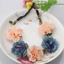 Summer Bohemia Handmade Flower Crown Wedding Wreath Bridal Headdress Headband Hairband Hair Band Accessories For Women Lady Girl(China)