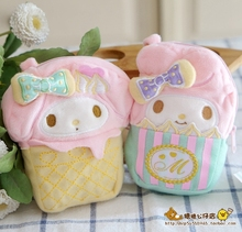 4Inch Original Icecream Style My Melody Plush Coin Bag Cute Cartoon Purses For girs Christmas Gifts Phone Bags pendant Keychains