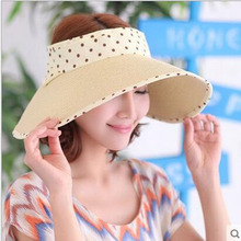 2017 Garden Bowknot Summer Visor Hat Travel Necessary Sun Hats Empty Top Cap Volume Foldable Roll Up Wide Brim Straw Beach Hat