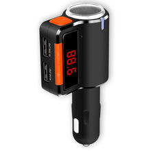 BC09 Bluetooth FM Transmitter cigarette lighter socke Car Charger Bluetooth Car Kit FM Transmitter for iPhone Android Phone iPod(China)