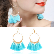 Buy X&P Fashion Bohemian Ethnic Fringed Tassel Earrings Women Gold Round Circle Ring Dangle Hanging Drop Earrings Jewelry Gift for $1.49 in AliExpress store