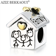 AZIZ BEKKAOUI Diy House Shape Beads Love Heart House Charms Fit Pandora Charm Bracelets Family Letters Bead Best Gift for Family