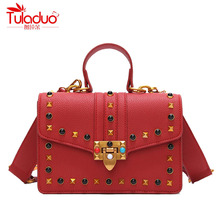 Fashion Color Rivet Women Handbags High Quality PU Leather Tote Bag Women Crossbody Bags Designer Brand Ladies Messenger Bags(China)