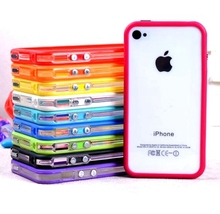 Best quality new middle transparent Bumper For iphone 4 4S tpu silicone with plastic frame case soft tpu cover cell phone bags(China)