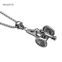 MCSAYS Hiphop Jewelry Silver-Color Cannon Skull Pendant 60cm Box Chain Stainless Steel Mens Necklace Fashion Accessories 3MJ(China)