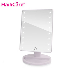 LED Touch Screen Makeup Mirror Professional Vanity Mirror With 16/22 LED Lights Health Beauty Adjustable Countertop 180 Rotating(China)