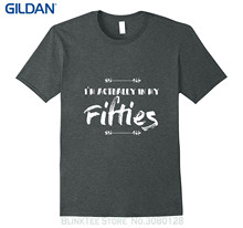 "GILDAN Mens Print T-shirt 100% Cotton Funny 50th Birthday Shirt - "" I'm Actually In My Fifties """