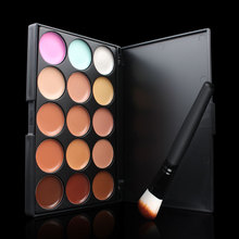 2IN1 15 Colors Concealer+1 Makeup Brush Facial Face Cream Care Camouflage Makeup Base Palettes Cosmetic Make up Tool