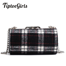 Autumn and Winter New Korean Fashion Trend Barrels Plaid Messenger Bag Wild Casual Personality Chain Shoulder Bag(China)