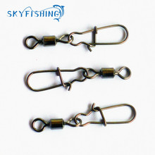 30pcs Swivel MS+HX Rolling Swivel with Coastlock Snap Size8, 6, 4, 2 Hook Lure Connector Terminal swivel for Fishihooks(China)