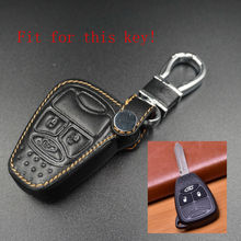 Leather Car Key Case Cover For Jeep Grand Cherokee Compass Patriot Dodge Journey Chrysler 300C Remote Key Wallet With Keychain