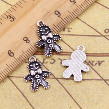 10pcs Charms gingerbread man cookies christmas 18*12mm Tibetan Silver Plated Pendants Antique Jewelry Making DIY Handmade Craft(China)
