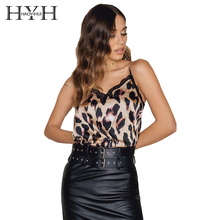 HYH HAOYIHUI Fashion Summer Leopard Camis Daily Casual Party Commute Tank Top Lace Patchwork Spaghetti Strap Sexy V Neck Top Tee(China)