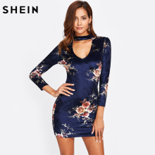 SHEIN V Cut Choker Neck Floral Elegant Velvet Dress Royal Blue Club Dress Fall V Neck Long Sleeve Sexy Bodycon Dress(China)