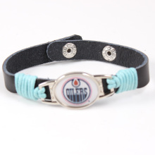 Edmonton Oilers NHL Charms Leather Bracelet Hockey Team Adjustable Mens Black Leather Bracelet For Men Drop Shipping 6pcs/lot